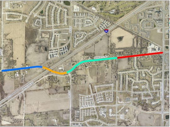 A $16.2 million project to widen Ashworth Road between Jordan Creek Parkway and 98th Street will begin this fall.