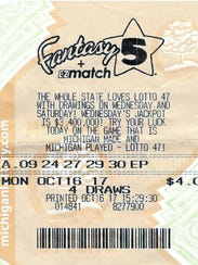 A Macomb County woman's winning Fantasy 5 ticket.