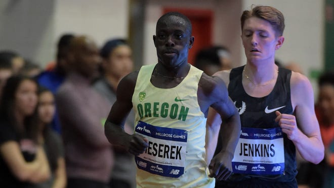 Feb 20, 2016; New York, NY, USA; Edward Cheserek of Oregon places sixth in the 3,000m in 7:40.51 during the 109th Millrose Games at The Armory. Mandatory Credit: Kirby Lee-USA TODAY Sports