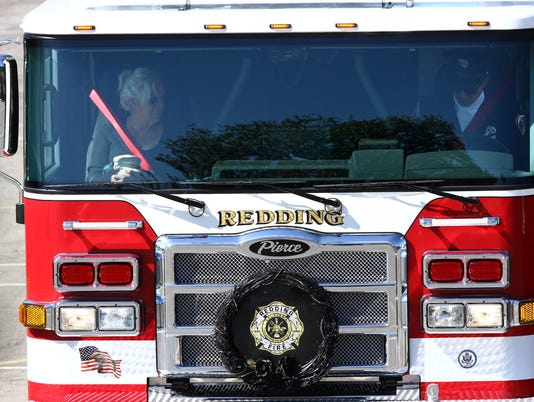 Procession for Redding Fire Chief Gerry Gray