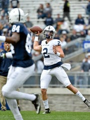 Penn State quarterback Tommy Stevens prepares to pass the ball in the second half of Penn State's Blue-White Game Saturday, April 22, 2017, at Beaver Stadium. The Nittany Lions, now the defending Big 10 champions and fresh off a Rose Bowl appearance, kicked off their annual spring football scrimmage at 3 p.m.