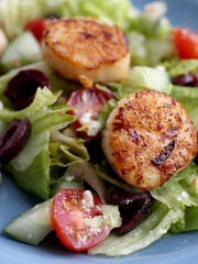 Romaine Salad with Seared Scallops and Roasted Red