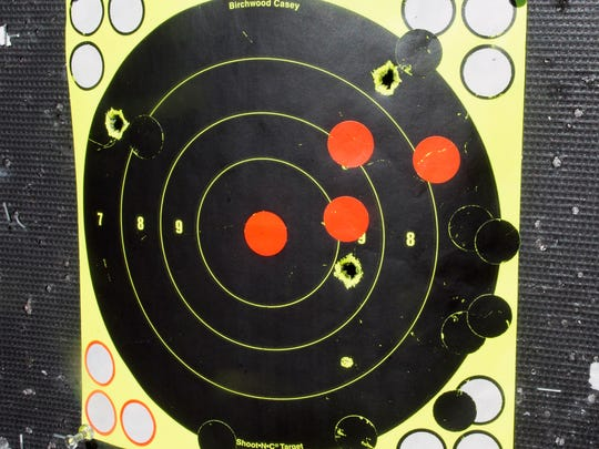 This is Keith Williams' target after practicing at the shooting range in Warrington Township