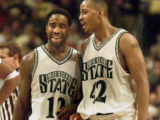 Spartan teammates Mateen Cleaves, left, and Morris