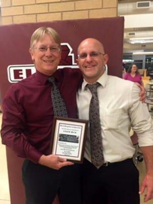 Dave Buck, left, with Elmira wrestling coach Dave Guyette.