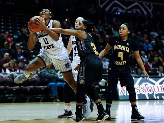 Missouri State's Brice Calip drives towards the basket