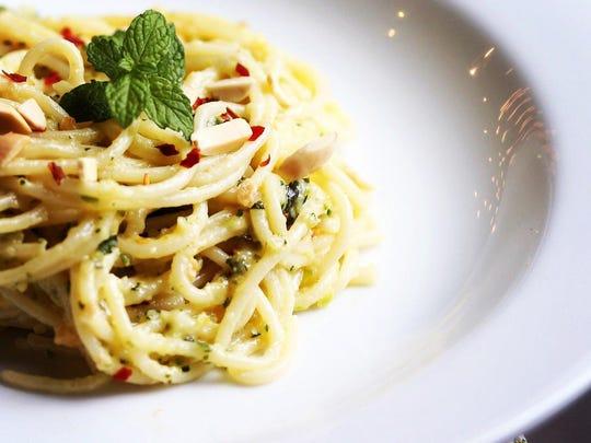 Spaghetti with Zucchini Pesto.