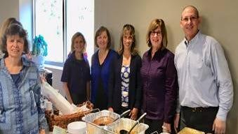 Jewish Family Service (JFS) staff thanking the Grotta Fund for Senior Care for their support. From left:Renie Carniol, Grotta Fund for Senior Care;Maris Chavenson, JFS;Fran Kumar, Grotta Fund for Senior Care;Ruth Edelman, JFS;Jerry Starr, JFS.