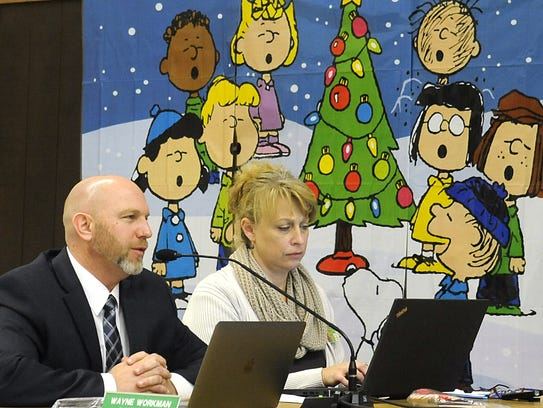 Superintendent Wayne Workman speaks at the meeting