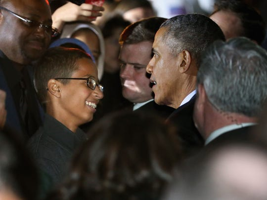 President Obama talks with 14-year-old Ahmed Mohamed