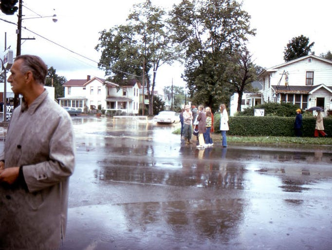 Flooding around Walnut Street in Elmira.