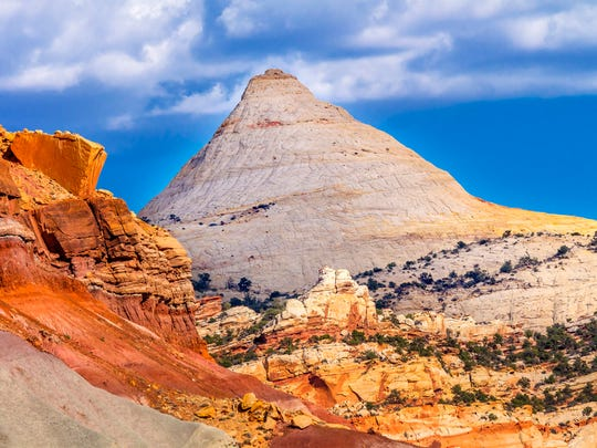 One of the white sandstone domes at Capitol Reef National Park just outside of Torrey, Utah.