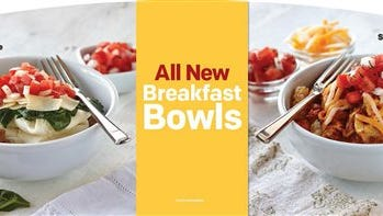 This product image provided by McDonald's advertises the restaurant chain's new breakfast bowls, including Egg White and Turkey Sausage, which contains kale, left, and Scrambled Egg and Chorizo. The world's biggest burger chain says it's testing the two breakfast bowls in Southern California. (AP Photo/McDonald's)