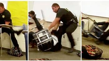 This three image combo made from video taken by a Spring Valley High School student on Monday, Oct, 26, 2015, shows Senior Deputy Ben Fields trying to forcibly remove a student from her chair after she refused to leave her high school math class, in Columbia S.C. The Justice Department opened a civil rights investigation Tuesday after Fields flipped the student backward in her desk and tossed her across the floor. (AP Photo)