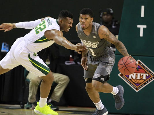 Mississippi State guard Lamar Peters, right, heads up court past Baylor guard King McClure, left, during the first half of an NCAA college basketball game in the second round of the NIT tournament, Sunday, March 18, 2018, in Waco, Texas. (Rod Aydelotte/Waco Tribune-Herald via AP)