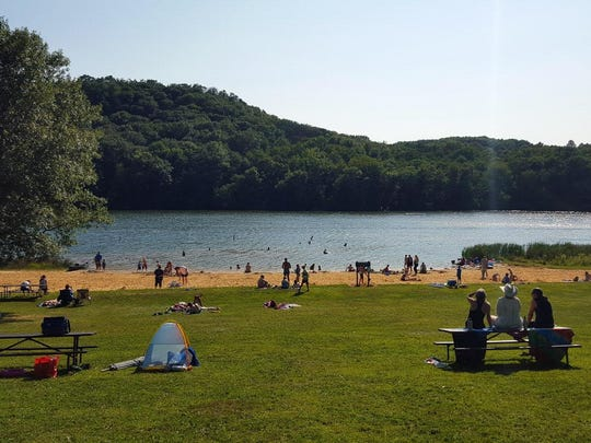 Twin Valley is one of two lakes at Governor Dodge State Park and is usually less busy than Cox Hollow. Both lakes allow fishing and  swimming, and have pet swim areas where dogs can enjoy the water off the leash.