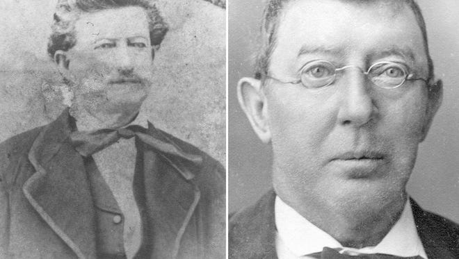 Judge Benjamin F. Neal (left) ignored the jury's plea for mercy and ordered Chipita Rodriguez to be hanged. John Fogg (right) took charge of the lynch mob that hanged Jim Garner at the arroyo on the south end of town.