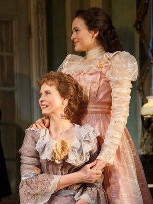 The Little Foxes, directed by Daniel Sullivan. Pictured is Cynthia Nixon as 'Birdie Hubbard' and Francesca Carpanini as 'Alexandra Giddens.'