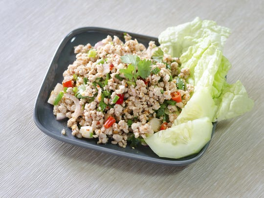 Run leftover turkey through a food processor until finely chopped and use it in a tasty Thai Larb salad.