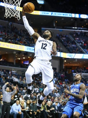 Grizzlies guard Tyreke Evans drives for a layup against the Magic on Wednesday at FedExForum.