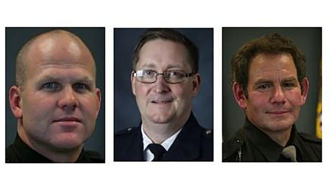 Candidates for Outagamie County sheriff include, from left, Clint Kriewaldt, Alexander Bebris and John Brylski.