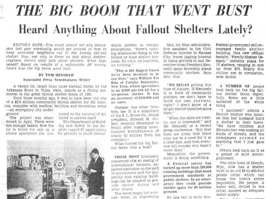 An July 22, 1962 Cincinnati Enquirer article about fallout shelters.