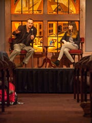 """Professor of Economics David Berri moderates a discussion with Melissa Stetten following her presentation, """"Body Image in the Modeling Industry: An Insider's Perspective,"""" during Southern Utah's fourth Convocation of the 2016 spring semester, Thursday, Feb. 18, 2016"""