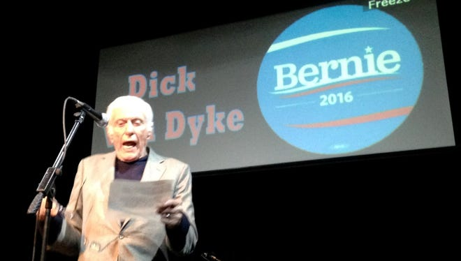 Dick Van Dyke hosted the Bands for Bernie rally at Studio on Fourth on Thursday night.