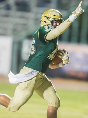 Acadiana High wide receiver Hunter Tabb coasts into the end zone for a touchdown during the Rams' 24-22 win over Landry-Walker on Friday at Bill Dotson Stadium.