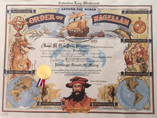 Don Merry received a certificate when he completed