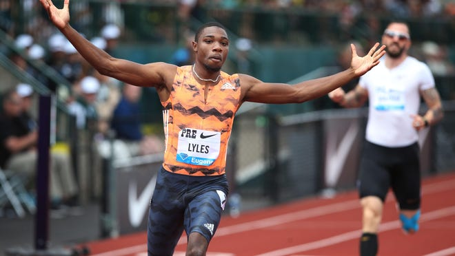 American sprint star Noah Lyles celebrates his win in the men's 200 meters at the Prefontaine Classic in 2018. The 2020 meet was canceled Friday morning due to the ongoing coronavirus pandemic. [Chris Pietsch/The Register-Guard] - registerguard.com