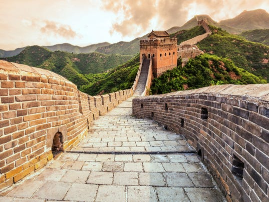 great wall the landmark of china and  beijing