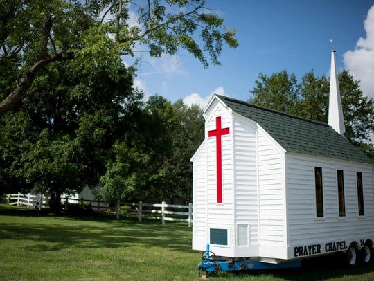 The Little Prayer Chapel is parked on its trailer on