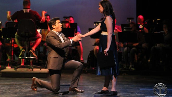 """Guest artists Travis Sherwood and Shelley Cooper rehearse """"South Pacific in Concert."""" The production is a collaboration of the Monroe Symphony Orchestra and Strauss Theatre Center, and produced by the Northeast Louisiana Arts Council. Performances are Friday and Saturday at Brown Theatre."""