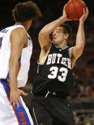 Butler's Brandon Crone looks to pass the ball past