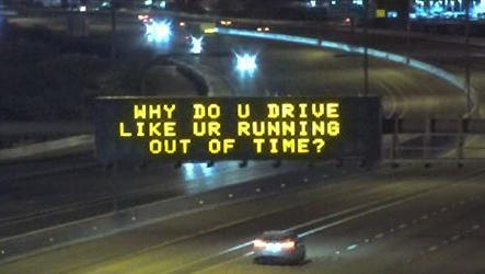 """One of the rejected phrases as ADOT raised the curtain on """"Hamilton""""-themed freeway messages."""