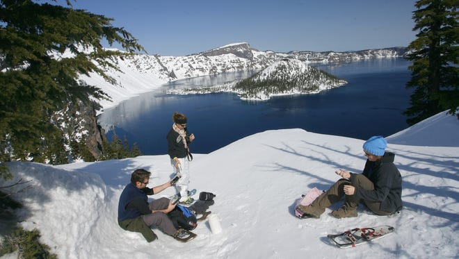 Snowshoeing at Crater Lake National Park is popular during the winter.