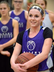 Albany senior guard Sidney Schiffler listens during a break in practice Wednesday, Jan. 20 at Albany High School.