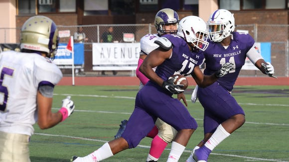 New Rochelle's Halim Dixon-King scores a touchdown after a fumble during their game against Clarkstown North in New Rochelle, Oct. 21, 2017.