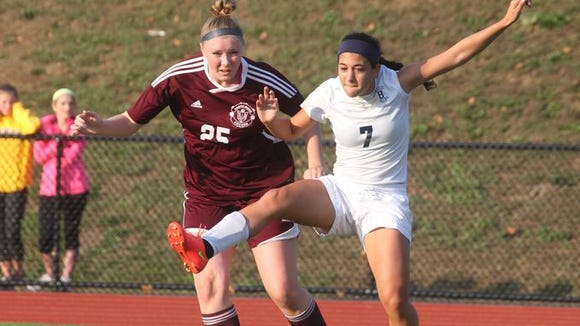 Briarcliff's Lexi Grasso attempts to control the ball during a game against Albertus Magnus on October 8th.
