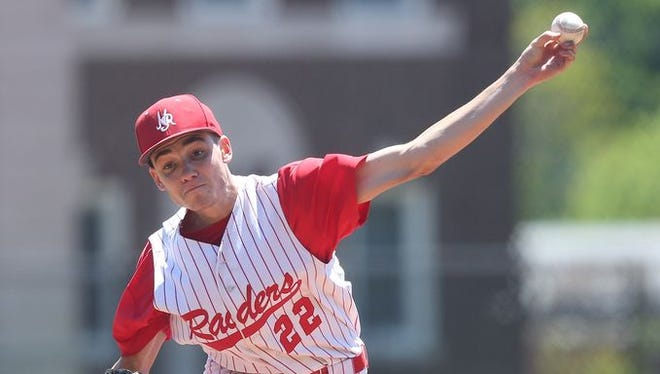 North Rockland's Eric Sandusky pitching against Mamaroneck, which defeated North Rockland 5-3 in a boys baseball playoff game at Mamaroneck High School May 23, 2015.