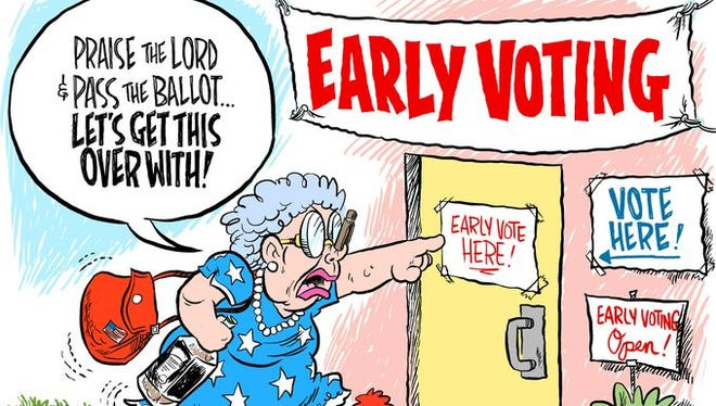 A cartoon published in the Pensacola (Fla.) News Journal.