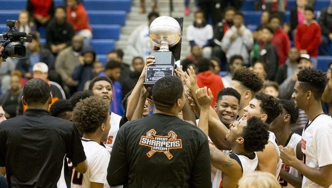 Fern Creek celebrates its victory over Trinity in the 2017 LIT final.