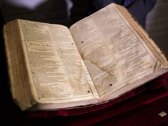 The First Folio of Shakespeare plays is displayed after