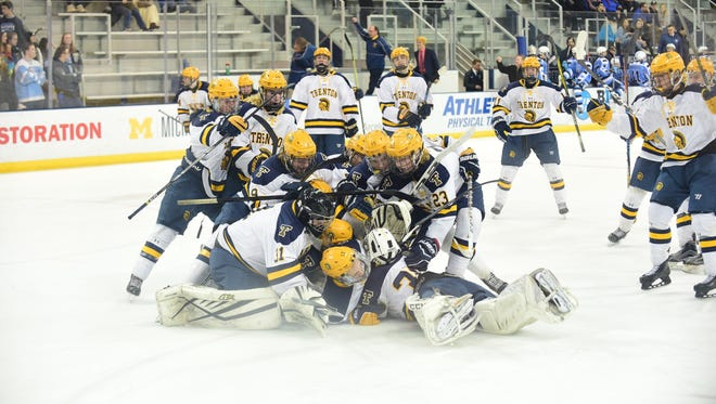 Livonia Stevenson players can only watch from the bench as Trenton's varsity hockey team celebrates Tuesday's 3-1 win.