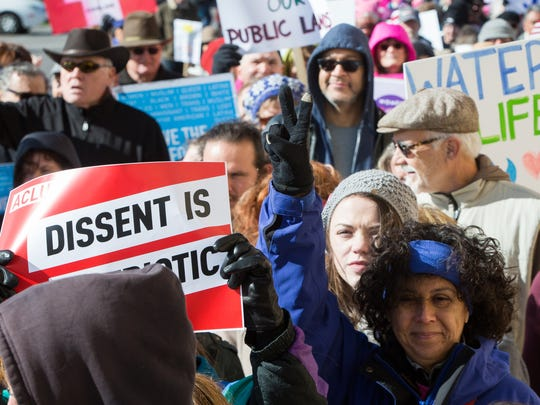 Over a thousand protesters came out to the Unified Community Action March  in downtown Las Cruces Saturday, January 21, 2017, to march and protest in solidarity with the Women's March in Washington DC and in other cities across the country.