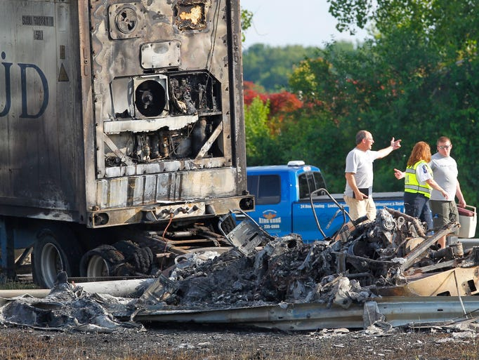 The scene of a multiple-vehicle, two person fatal crash involving trucks and cars on the New York State Thruway westbound between exits 45 and 46.