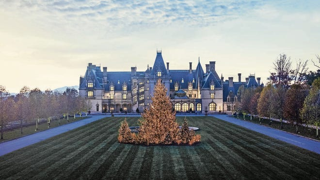 Christmas lights on the front lawn of Biltmore.