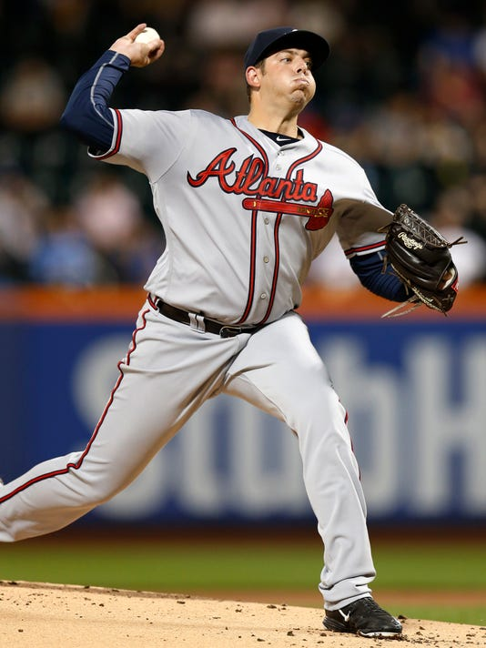 Atlanta Braves' starting pitcher Aaron Blair delivers a pitch against the New York Mets during a baseball game Monday, Sept. 19, 2016, in New York. (AP Photo/Kathy Willens)