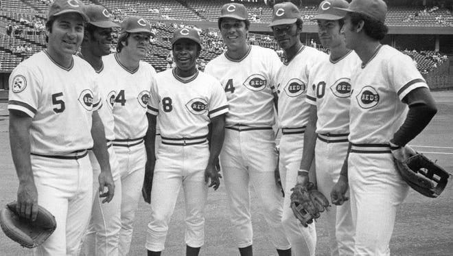 """Members of the Cincinnati Reds' """"Big Red Machine"""" baseball team. Great Eight starting lineup, from left to right: Catcher Johnny Bench, right fielder Ken Griffey, third baseman Pete Rose, second baseman Joe Morgan, first baseman Tony Perez, left fielder George Foster, center fielder Cesar Geronimo and shortstop Dave Concepcion, are shown in this file photo."""